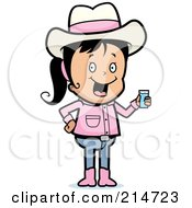 Royalty Free RF Clipart Illustration Of A Black Haired Cowgirl Holding A Glass Of Water by Cory Thoman