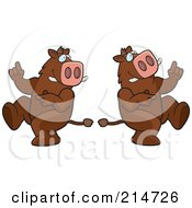 Royalty Free RF Clipart Illustration Of A Digital Collage Of A Dancing Boar In Different Poses