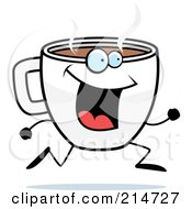 Royalty Free RF Clipart Illustration Of A Happy Running Coffee Cup Character by Cory Thoman