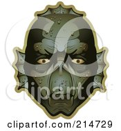 Royalty Free RF Clipart Illustration Of A Creepy Swamp Monster Face by Cory Thoman
