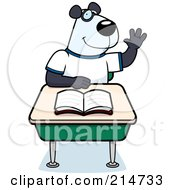 Royalty Free RF Clipart Illustration Of A Smart Panda Student Raising His Hand In Class by Cory Thoman