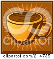 Royalty Free RF Clipart Illustration Of A Coffee Cup On An Orange And Brown Burst by Cory Thoman