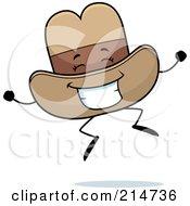 Happy Jumping Cowboy Hat Character