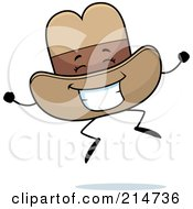 Royalty Free RF Clipart Illustration Of A Happy Jumping Cowboy Hat Character by Cory Thoman
