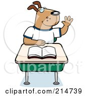 Royalty Free RF Clipart Illustration Of A School Dog Raising His Hand And Sitting At A Desk by Cory Thoman