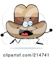 Royalty Free RF Clipart Illustration Of A Happy Running Cowboy Hat Character by Cory Thoman