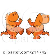Royalty Free RF Clipart Illustration Of A Digital Collage Of A Dancing Tyrannosaurus Rex In Different Poses