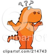 Royalty Free RF Clipart Illustration Of A Shrugging And Confused T Rex Dinosaurs by Cory Thoman