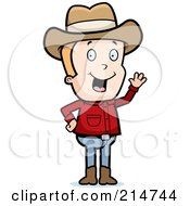 Royalty Free RF Clipart Illustration Of A Friendly Blond Cowboy Waving by Cory Thoman