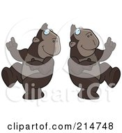Royalty Free RF Clipart Illustration Of A Digital Collage Of A Dancing Ape In Different Poses by Cory Thoman