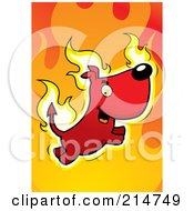 Royalty Free RF Clipart Illustration Of A Flaming Devil Dog by Cory Thoman