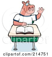 Royalty Free RF Clipart Illustration Of A Smart Pig Student Raising His Hand In Class by Cory Thoman