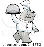 Royalty Free RF Clipart Illustration Of A Chef Bulldog Walking And Carrying A Platter