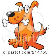 Royalty Free RF Clipart Illustration Of A Happy Sitting Orange Dog With A Bone In His Mouth by Cory Thoman #COLLC214755-0121