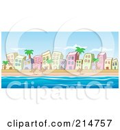 Royalty Free RF Clipart Illustration Of A Beachfront Buildings Palm Trees And Umbrellas Along The Water by Holger Bogen