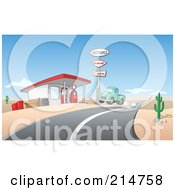 Royalty Free RF Clipart Illustration Of A Vintage Green Pickup Truck Pulling Into A Gas Station In A Desert by Holger Bogen