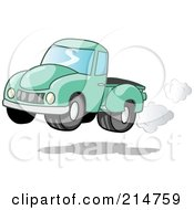 Royalty Free RF Clipart Illustration Of A Vintage Green Pickup Truck With Exhaust Clouds by Holger Bogen