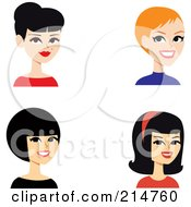 Royalty Free RF Clipart Illustration Of A Digital Collage Of Four Beautiful Ladies Smiling by Monica