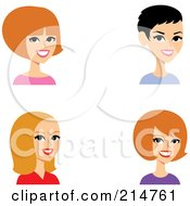 Royalty Free RF Clipart Illustration Of A Digital Collage Of Four Caucasian Ladies Smiling by Monica