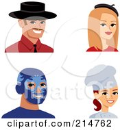 Royalty Free RF Clipart Illustration Of A Digital Collage Of Four Men And Women Smiling by Monica