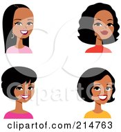 Royalty Free RF Clipart Illustration Of A Digital Collage Of Four Hispanic Ladies Smiling by Monica