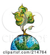 Royalty Free RF Clipart Illustration Of A Colorful Painted Tree On A Globe by MilsiArt