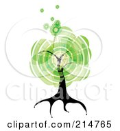 Royalty Free RF Clipart Illustration Of An Abstract Green Circle Tree by MilsiArt