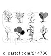 Royalty Free RF Clipart Illustration Of A Digital Collage Of Four Black And White Artistic Tree Designs by MilsiArt