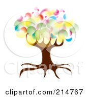 Royalty Free RF Clipart Illustration Of A Colorful Bubbly Circle Tree by MilsiArt