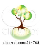 Royalty Free RF Clipart Illustration Of A Tree Made Of Green And Yellow Circles On Round Soil by MilsiArt