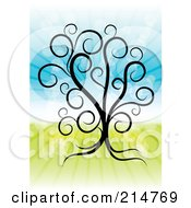 Royalty Free RF Clipart Illustration Of A Swirly Tree Over A Shining Spring Time Background