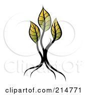 Royalty Free RF Clipart Illustration Of A Young Seedling Tree With Three Yellow And Green Leaves by MilsiArt