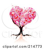 Royalty Free RF Clipart Illustration Of A Strong Tree Trunk Holding Up Heart Foliage