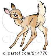 Royalty Free RF Clipart Illustration Of A Cute Little Doe Deer Scratching Its Back