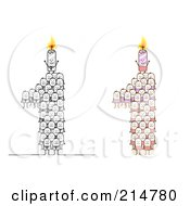 Royalty Free RF Clipart Illustration Of A Digital Collage Of Crowds Of Stick Men Forming 1 With Candles by NL shop