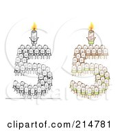 Royalty Free RF Clipart Illustration Of A Digital Collage Of Crowds Of Stick Men Forming 5 With Candles by NL shop