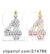 Digital Collage Of Crowds Of Stick Men Forming 4 With Candles