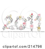 Royalty Free RF Clipart Illustration Of A Stick People With Christmas Gifts And Trees Forming 2011 by NL shop