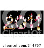 Royalty Free RF Clipart Illustration Of A Stick People With Christmas Items Forming 2011 by NL shop