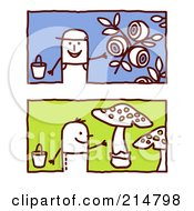 Royalty Free RF Clipart Illustration Of A Digital Collage Of Stick Men Gardening by NL shop