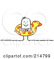 Royalty Free RF Clipart Illustration Of A Stick Man Wearing A Floatie