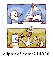 Royalty Free RF Clipart Illustration Of A Digital Collage Of Stick Men With Sailboats