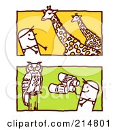 Royalty Free RF Clipart Illustration Of A Digital Collage Of Stick Men Watching Giraffes And An Owl by NL shop
