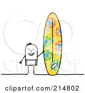 Stick Man Standing By A Big Surf Board