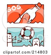Royalty Free RF Clipart Illustration Of A Digital Collage Of Stick Men In An Sos Bottle And Tossing A Life Buoy