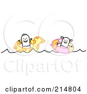 Royalty Free RF Clipart Illustration Of A Two Children Swimming With Inner Tubes