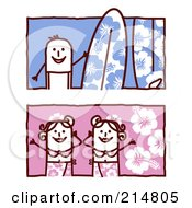 Royalty Free RF Clipart Illustration Of A Digital Collage Of Stick People With Surfboards And Bikinis