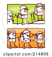 Royalty Free RF Clipart Illustration Of A Digital Collage Of Stick People Hiking by NL shop