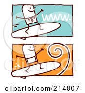 Royalty Free RF Clipart Illustration Of A Digital Collage Of Stick Business Men Surfing