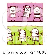 Royalty Free RF Clipart Illustration Of A Digital Collage Of Stick Women Exercising by NL shop